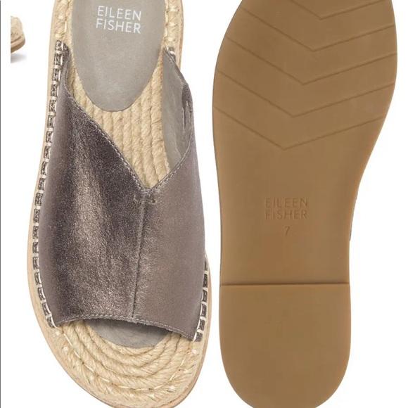 Eileen Fisher Milly Pewter espadrille slide sandal